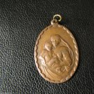 Vtg Christian Pendant Talisman Amulet Mascot Copper Base Mother Mery Child Baby