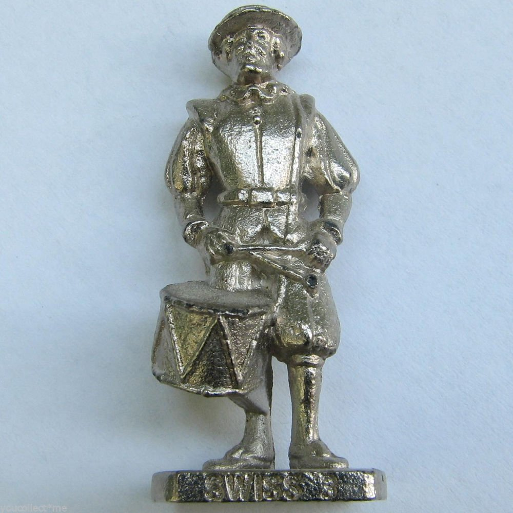 SWISS 3 Kinder Surprise Metal Soldier Figurine Vintage Toy 4cm High
