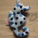 Blue Seahorse Small Plush Toy Loop Key Chain Ring Cell Phone Lucky Charm