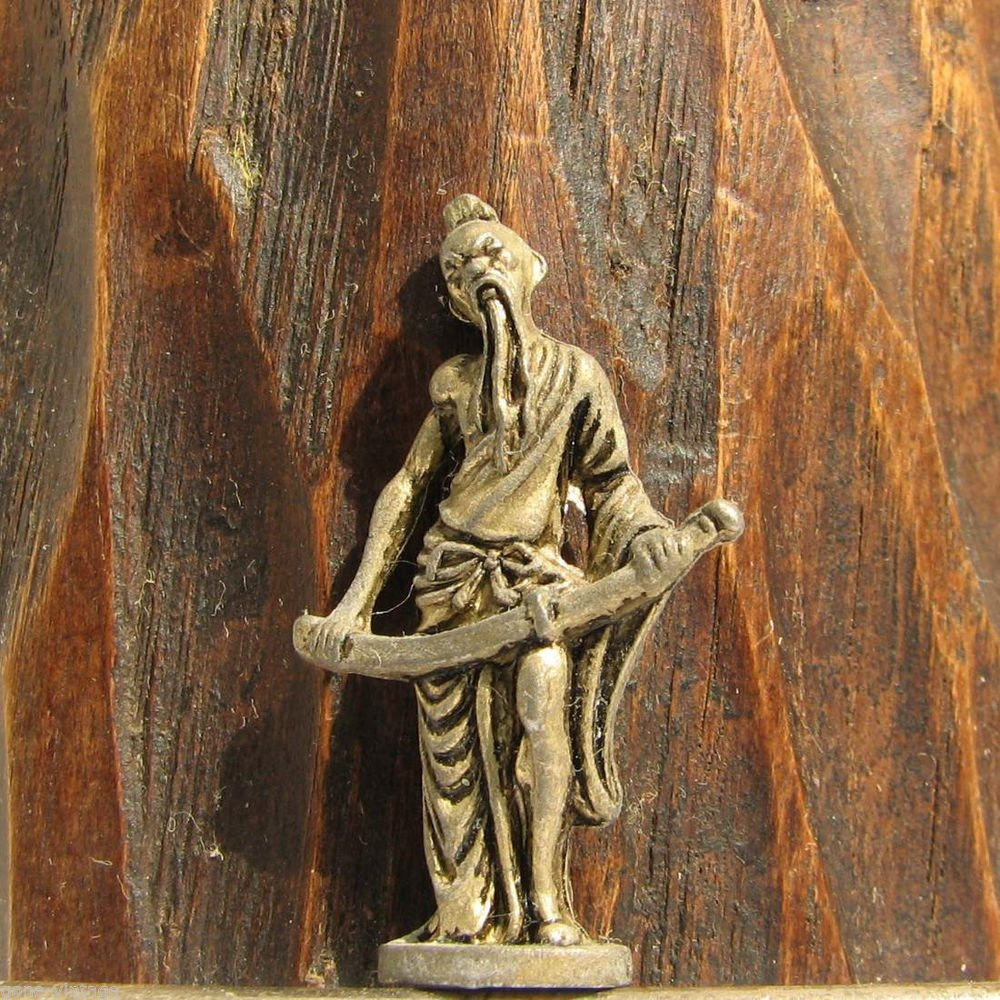 China #4 Kinder Surprise Metal Man Sword Figurine Vintage Toy 3 cm Copper Finish