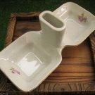 1960's Vintage Milk White Porcelain Open Salt Dish Saltern Gold Trim Rose Deco