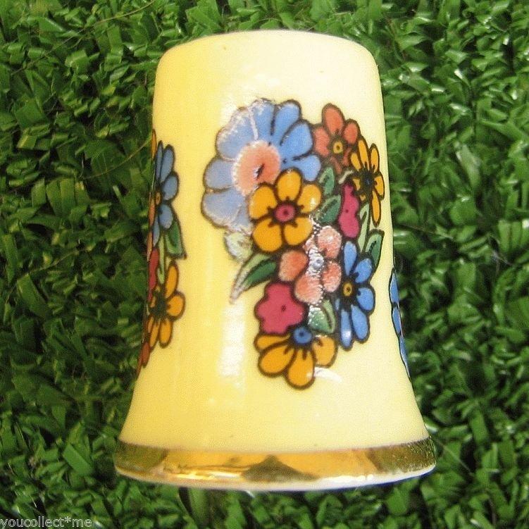 Vintage Thimble - Porcelain with Floral Deco Golden Dotted Front