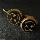 RARE VINTAGE CUFFLINKS CUFF LINKS GOLD COLOR & BLACK FLOWER MENS CUFFS