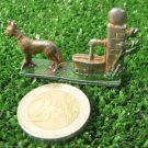 Dog Standing at Fountain Vintage Metal Animal Figurine USSR 1970s Deco Toy