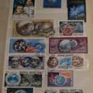 Vintage Soviet USSR Space Program Theme Postage Stamps Mixed Lot Set