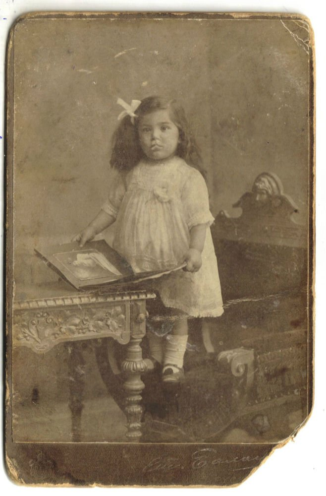 Antique Cabinet Photo Little Girl on Chair Child in Dress Ruse Bulgaria 1912