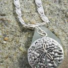 Woman Of The Sea - Aquamarine Teardop Seaglass Pendant With Silver Sand Dollar Charm