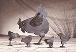 Rusted Metal Hen Family