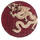Alabastrite Gold Dragon Round Plaque
