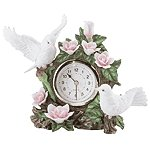 Porcelain Doves & Flowers Quartz Clock