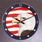 Patchwork Eagle American Flag Wall Clock