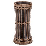 Rattan And Mango Wood Hourglass-Shaped Vase