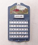 Wood Barn Scene Wall Calendar & Key Holders