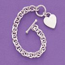 Sterling Silver Link Bracelet With Heart Pendant