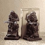 Bronze Reading Monkey Bookends
