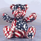 American Flag Patchwork Teddy Bear Bank
