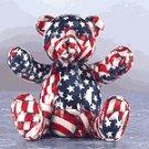 American Flag Patchwork Teddy Bear Bank