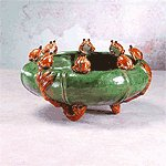 Majolica Frogs Bowl