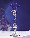 Blue Lily Vase With Silver-Plated Base