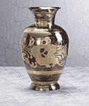 Pewter Brass Vase - Floral
