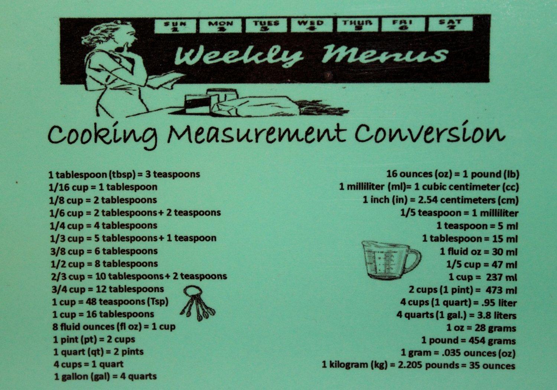 Cooking Measurement Conversion Fridge Magnet