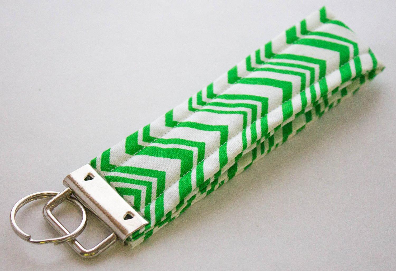 Green Stripe Key Fob Wristlet