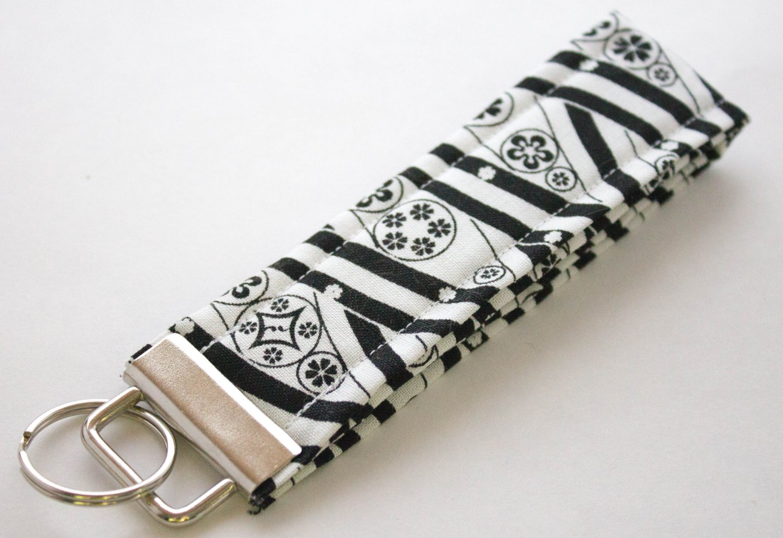 Black Whiet Key Fob Wristlet