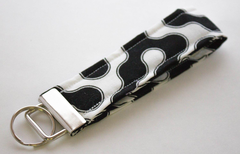 Black White Key Fob Wristlet