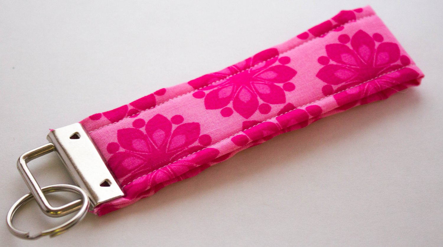 Hot Pink Flower Key Fob Wristlet