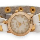 Women's Watch White Leather Wrap With Gold Tone Accents