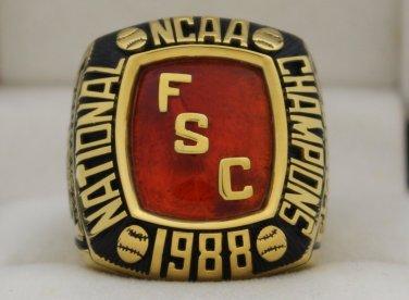 1988 Florida Southern Moccasins Baseball National Championship Rings Ring