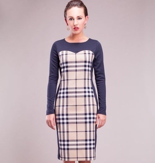 Fitted Paneled Long Sleeve Ladies Dress  SIZE UK 14