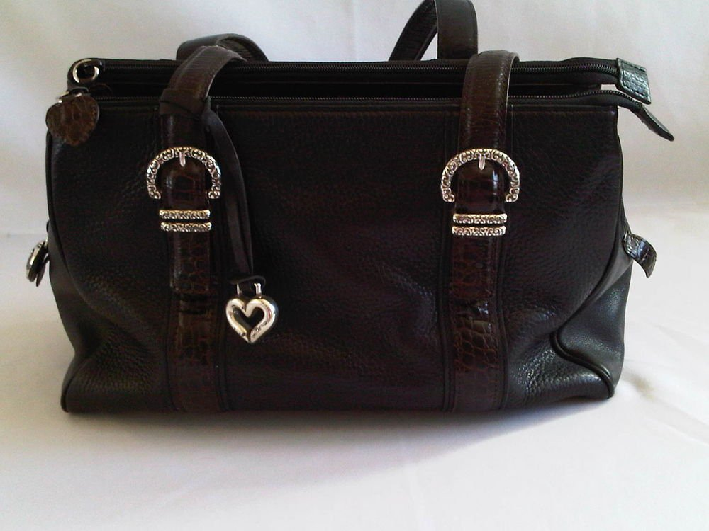 Genuine Brighton Women's Handbag Black Leather Chocolate Trim Metal Heart