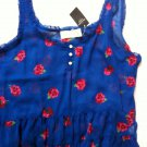Abercrombie & Fitch Blue Floral Peplum Fashion Blouse Tank Top Cropped Top
