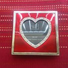 Genuine Austrian Crystals 3.5x3.5 Frame Heart Red Enamel Pink Patina Metal