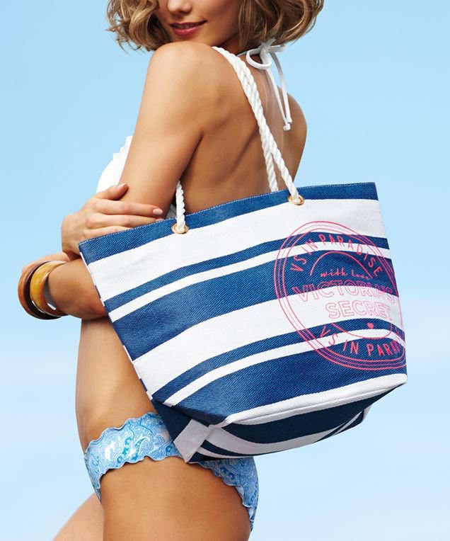 VICTORIA'S Secret Limited Edition Swim Tote Poolside Beach Bag 2013 Blue Pink