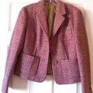 Ann Taylor Loft Tweed Three Button Blazer Virgin Wool Pink NWOT 6
