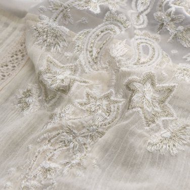 Abercrombie & Fitch Lightweight Gold Embroidered Fly Away Top L Ivory