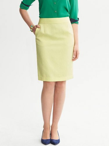 Banana Republic Pale Yellow Paisley Textured Pencil Skirt 10