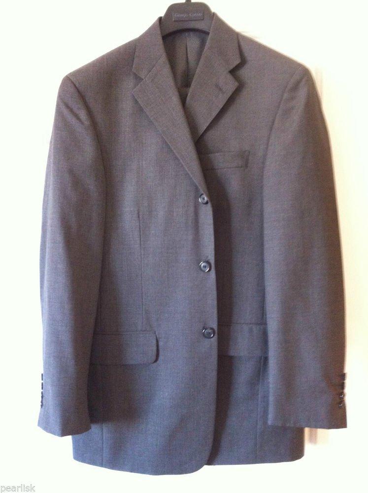 Giorgio Cosani Wool Mens Three Button Suit 38R Shark Grey