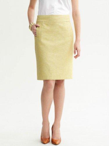 Banana Republic Petites Woven Tweed Pencil Skirt 12P Yellow Petites
