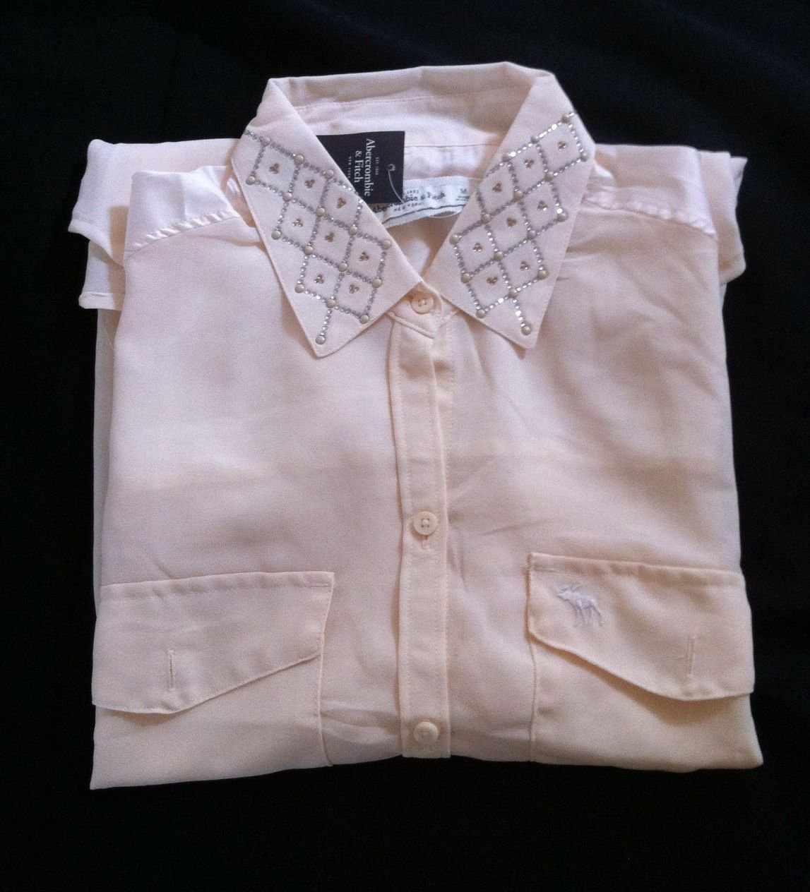 Abercrombie & Fitch Embellished Chiffon Sheer Button Up Double Pocket Shirt M