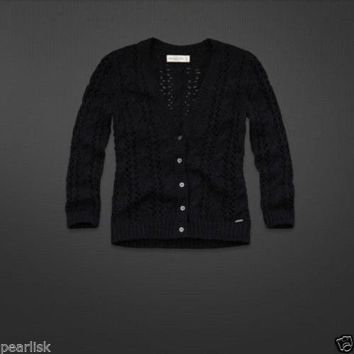 Abercrombie & Fitch Navy Blue Cable Knit Open Stitch Cardigan Sweater Collegiate