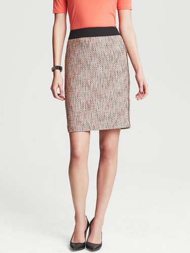 Banana Republic Woven Tweed Skirt Blood Orange 14 Plus Size