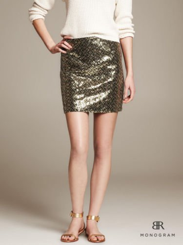 Banana Republic Olive Sequin Print Mini Skirt 14 Tall Geometric Mosiac Gold