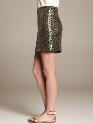 Banana Republic Olive Sequin Print Mini Skirt 12 Geometric Mosiac Gold