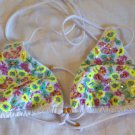 Victoria's Secret Floral Sequin Perfect Triangle Swim Top L White