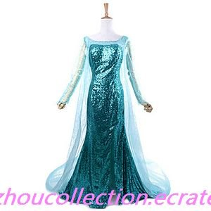 Frozen Sparkle Princess Elsa Deluxe Blue Sequin Women's  Cosplay Costume(FREE SHIPPING)