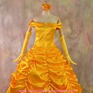 Beauty and the Beast Belle Golden Dress Halloween Costume(2 Pieces)(FREE SHIPPING)