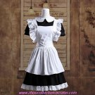 Short Sleeve Short Black and White Cotton Maid Cosplay Lolita Dress(FREE SHIPPING)